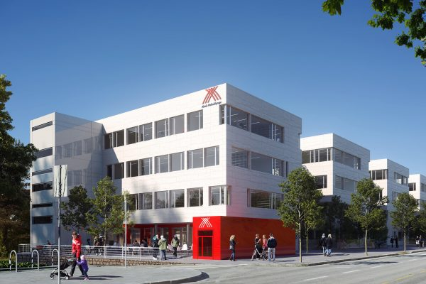mockup of alrek helseklynge logo on the building