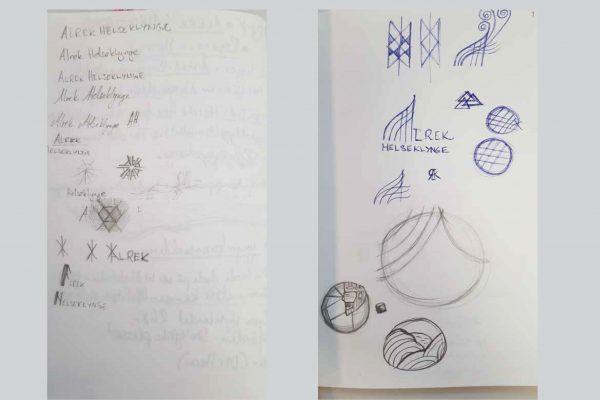 pencil drafts of alrek helseklynge concept